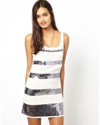Glamorous Sequin Stripe Dress - Lyst
