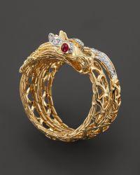 John Hardy Batu Naga 18k Yellow Gold Diamond Pave Dragon Coil Ring with African Ruby Eyes - Lyst