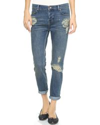 Free People Low Rise Boyfriend Jeans Lotus - Lyst