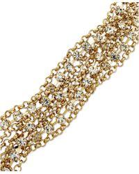 ABS By Allen Schwartz - Goldtone Mixed Chain and Crystal Accent Flex Bracelet - Lyst