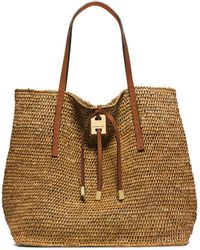 Michael Kors Miranda Raffia & Leather Tote - Lyst