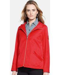 Lauren by Ralph Lauren Hooded Zip Front Jacket - Lyst