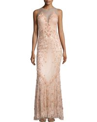 Catherine Deane Sleeveless Illusion Floral Dress - Lyst