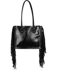 Tamara Mellon - Black Rock Fringed Patent-Leather And Suede Tote - Lyst