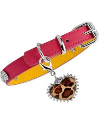 Betsey Johnson | Silver-Tone Leopard Heart Pink Dog Collar | Lyst