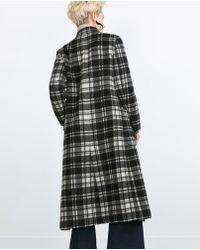 Zara | Long Check Coat | Lyst