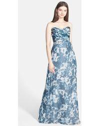Amsale 'Amore' Print Silk Chiffon Gown - Lyst