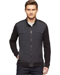 Calvin Klein Full-zip Woven Blocked Jacquard Jacket - Lyst