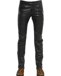 Balmain 165cm 500 Nappa Leather Biker Jeans - Lyst