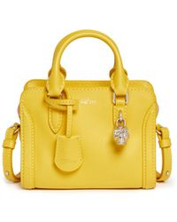Alexander McQueen 'Padlock' Mini Leather Tote yellow - Lyst