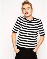 Asos Stripe Sweater With Embellishment - Lyst