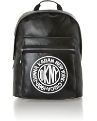 DKNY - Canvas Logo Black Large Backpack - Lyst