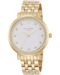 Kate Spade Monterey PavÉ Mother-Of-Pearl & Goldtone Stainless Steel Bracelet Watch gold - Lyst