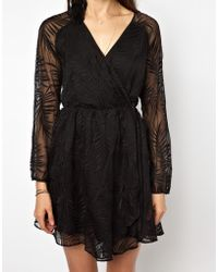 Greylin Textured Fern Dress with Wrap Front - Lyst