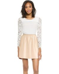 Rebecca Taylor Long Sleeve Lace Mix Top Chalk - Lyst