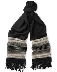 Saint Laurent Oversized Patterned Wool And Cotton-Blend Scarf - Lyst