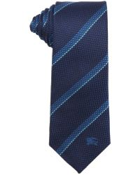 Burberry Navy Blue Striped Silk Tie - Lyst