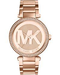 Michael Kors Women'S Parker Rose Gold-Tone Stainless Steel Bracelet Watch 33Mm Mk5865 - Lyst