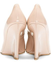 Brian Atwood - Nude Patent Leather Luz Wedge Heels - Lyst