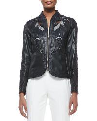 ESCADA - Laser-Cut Leather Jacket - Lyst