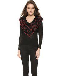Rodarte Hand Knit Wool Ruffled Sweater - Black - Lyst