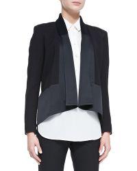 Jason Wu Long-Sleeve Drape-Front Cardi Jacket black - Lyst