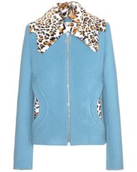 Carven Wool Jacket With Faux-Fur Trim - Lyst
