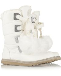 DKNY Verna Faux Fur-Trimmed Shell Boots - Lyst