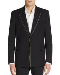 Versace Zipper-trim Cotton Jersey Blazer - Lyst
