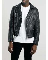 Topman Black Leather Biker Jacket - Lyst