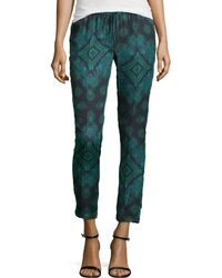 Haute Hippie Printed Silk Drawstring Pants - Lyst
