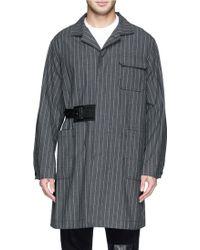 Sacai Pinstripe Cotton-Linen Long Coat - Lyst