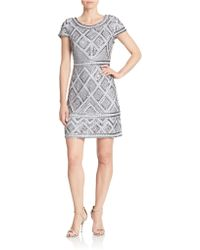 Adrianna Papell Beaded Shift Dress silver - Lyst