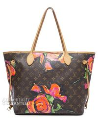 Louis Vuitton Preowned Stephen Sprouse Monogram Canvas Roses Neverfull Mm Tote Bag - Lyst