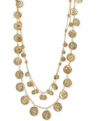 Guess Gold-tone Two Row Coin Charm Statement Necklace - Lyst