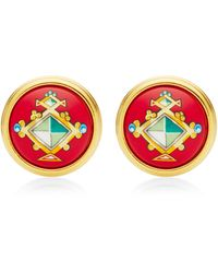 What Goes Around Comes Around Hermes Red Gem Motif Round Enamel Earrings - Lyst