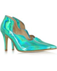 Zoe Lee - Marlon Emerald Green Metallic Patent Leather Pump - Lyst