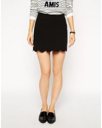 Asos A Line Mini Skirt with Scallop Hem - Lyst