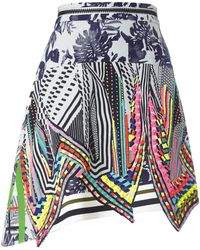 Preen Multicolour Asymmetric Aret Skirt blue - Lyst