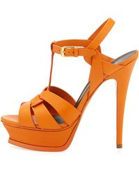 Saint Laurent Tribute Leather Platform Sandal Orange - Lyst
