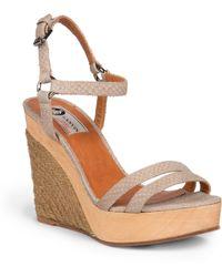 Lanvin Snake-Embossed Leather Wedge Espadrille Sandals beige - Lyst