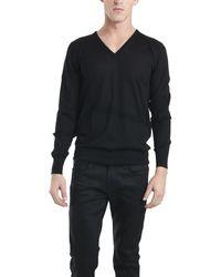 Simon Spurr Simon Tonal Stripe Vneck Sweater black - Lyst