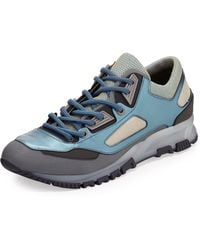 Lanvin Multicolor Mesh and Leather Trainer Sneaker Bluegray - Lyst