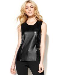 Calvin Klein Sleeveless Faux Leather Top - Lyst