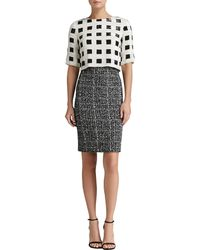 St. John Sparkle Check Knit Elbow Sleeve Dress with Hand-beaded Paillettes - Lyst