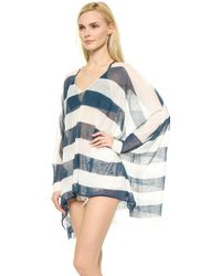 Free People Life Saver Pullover - Ivory/Navy Combo - Lyst