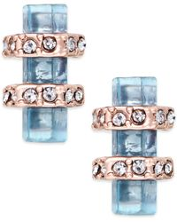 House Of Harlow Rose Gold-tone Blue Stone Bar Stud Earrings - Lyst