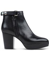 Acne Studios Leather Platform Ankle Boots black - Lyst