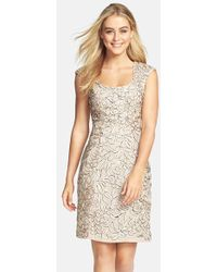 Sue Wong Floral Embroidered Sheath Dress floral - Lyst