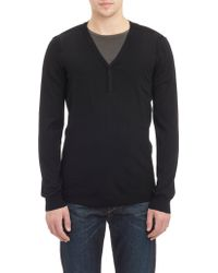 Helmut Lang V-Neck Sweater With Elbow Pockets - Lyst